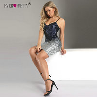 Ever Pretty Sequins Cocktail Dresses New Arrival Sexy V Neck Spaghetti Straps Party Gown Bodycon Vestido Coctel Corto EP04109NB
