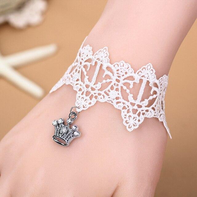 5f3a38d649 € 9.02 |Blanc Cristal Charme Couronne Bracelet Dentelle Bracelet De Mariage  Robe Accessoires Cadeaux Pour Les Filles et de Demoiselle D'honneur En ...