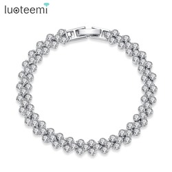 LUOTEEMI Hot Selling Roman Chain Bracelet for Women Luxury 2.75mm Cubic Zircon Inlay Charm Bracelet Bride Wedding Jewelry