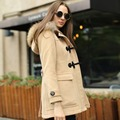 Veri Gude Women's Woolen Coat Raccoon Fur Hoodie Mid-length Horn Buttons Big Pockets
