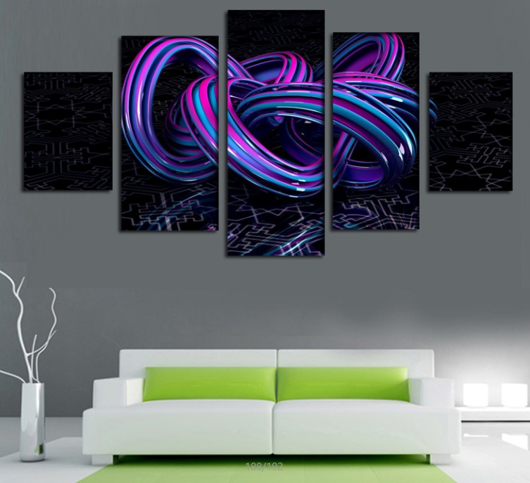 2016 new 5pcs purple abstract line print oil painting on canvas home decoration home decor on - Purple Hotel 2016