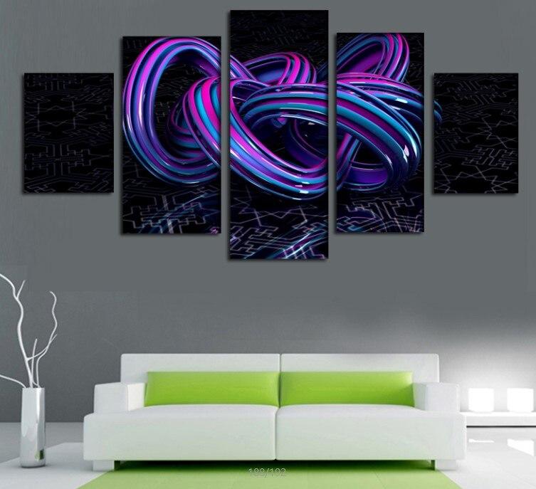 2016 nouveau 5 pièces violet abstrait ligne impression peinture à l'huile sur toile décoration de la maison décoration sur toile hôtel décoration peinture