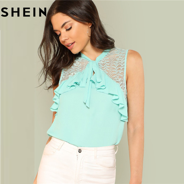 2d71d717f1 SHEIN Women Sleeveless Lace Tied Neck Ruffle Green Casual Tops And Blouses  2018 Summer Elegant Office Work Lady Blouse Clothing