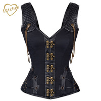 Vintage Black Steampunk Corsets Satin And Leather Punk Gothic Clothing Sexy Tank Vest Brass Chain Detail