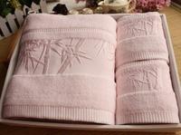 Free shipping pure bamboo jacquard towel 3pcs per set towel bamboo fiber towels