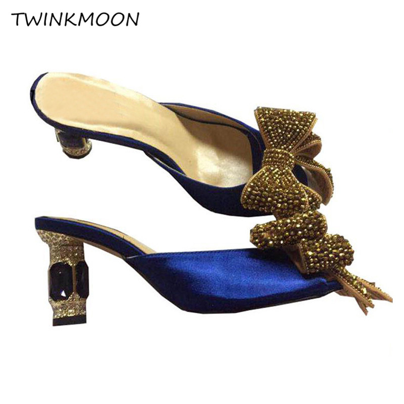 Sexy Sandals Diamond Slippers Rhinestone Summer Shoes Crystal Knot High-Heels Butterfly