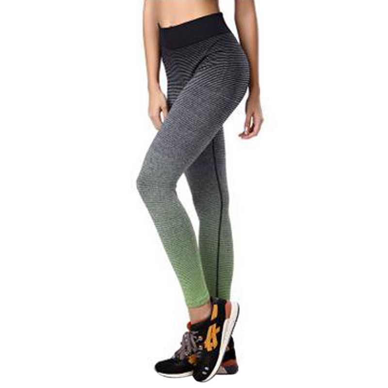 Yoga Pants Women High Waist Strip Pattern Skinny Running Sport Leggings 2
