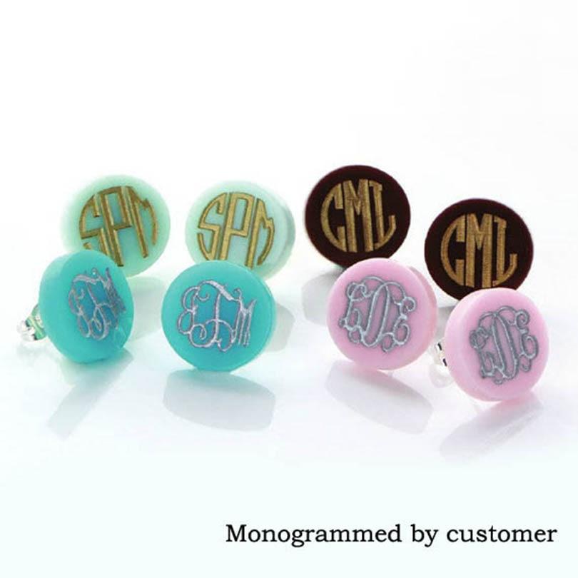 Monogram Jewelry 16mm Post Earrings Mint Acrylic Clover