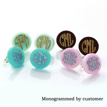 Monogram Jewelry Turquoise 16mm Post Earrings Mint Acrylic Clover Disc Blank Stud Earrings for Women Round Monogram Earrings