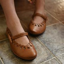 Vintage handmade women shoes female knitted cutout shallow mouth cowhide women's flats genuine leather shoes 883-8