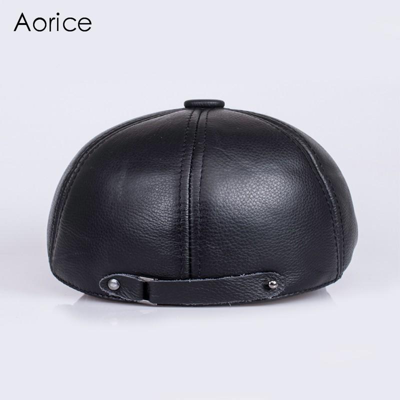 7300f075381 HL110 genuine leather men baseball cap hat men s real skin leather ...
