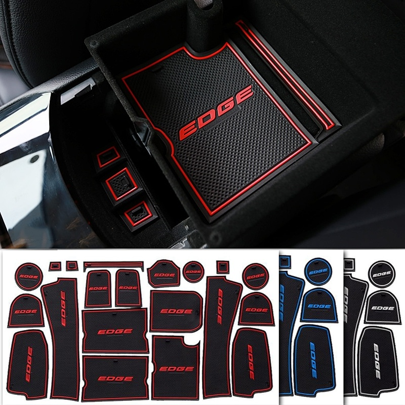 20pcs/set Car Accessories Gate Slot Pad Rubber Car cup Interior Cup Cushion Door Mat Cup Covers For Ford EDGE (Year:2015 2017)
