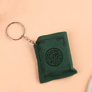 Image 5 - Llavero con colgante en forma de libro del Corán árabe bolsa de almacenamiento de PVC, decoración artística para llaves, regalo de San Valentín