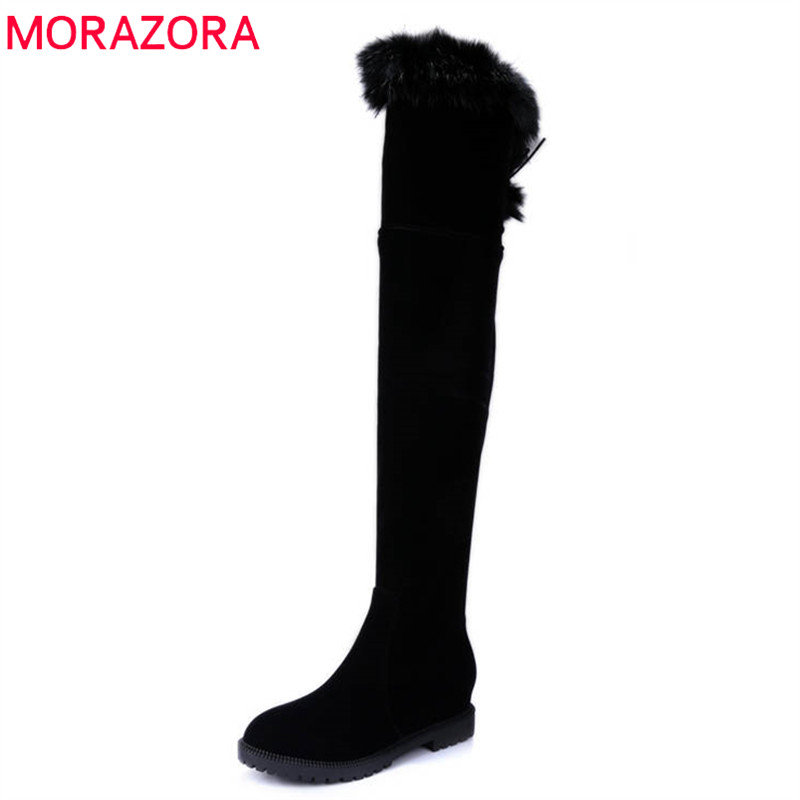 MORAZORA 2018 new arrival thigh high over the knee boots women solid colors winter snow boots zip+lace up fashion shoes woman цена 2017