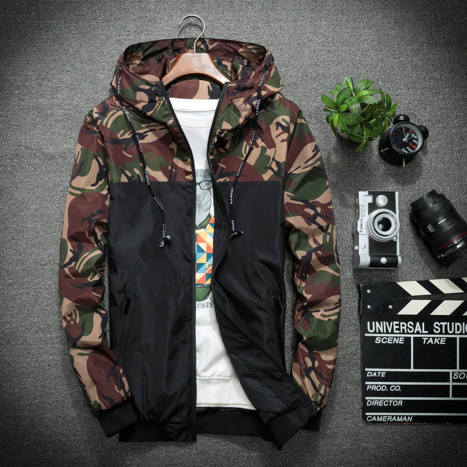 Men 'S Fashion Cotton Camouflage Printing Long-Sleeved Loose Popular Hooded Jacket New Style Thin Korean-Style Leisure Jacket Ma