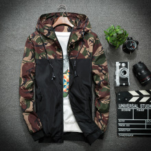 Men 'S Fashion Cotton Camouflage Printing Long-Sleeved Loose Popular Hooded Jacket