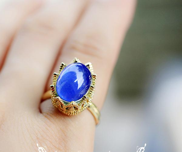 Vintage Gold Blue Stone Adjustable Ring 1960s Antique Jewelry Rings