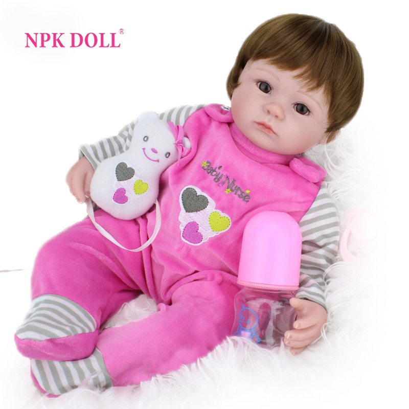 NPKDOLL 40cm Silicone Reborn Baby Doll kids Playmate Gift For Girls 16 Inch boneca reborn men Toys For Bouquets Doll Bebe Reborn warkings reborn