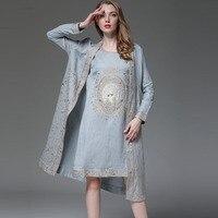 Для женщин костюм королевская вышивка платье без рукавов + свободные хлопок Цветочный Открыть стежка пальто 2 шт. элегантные леди костюм жен