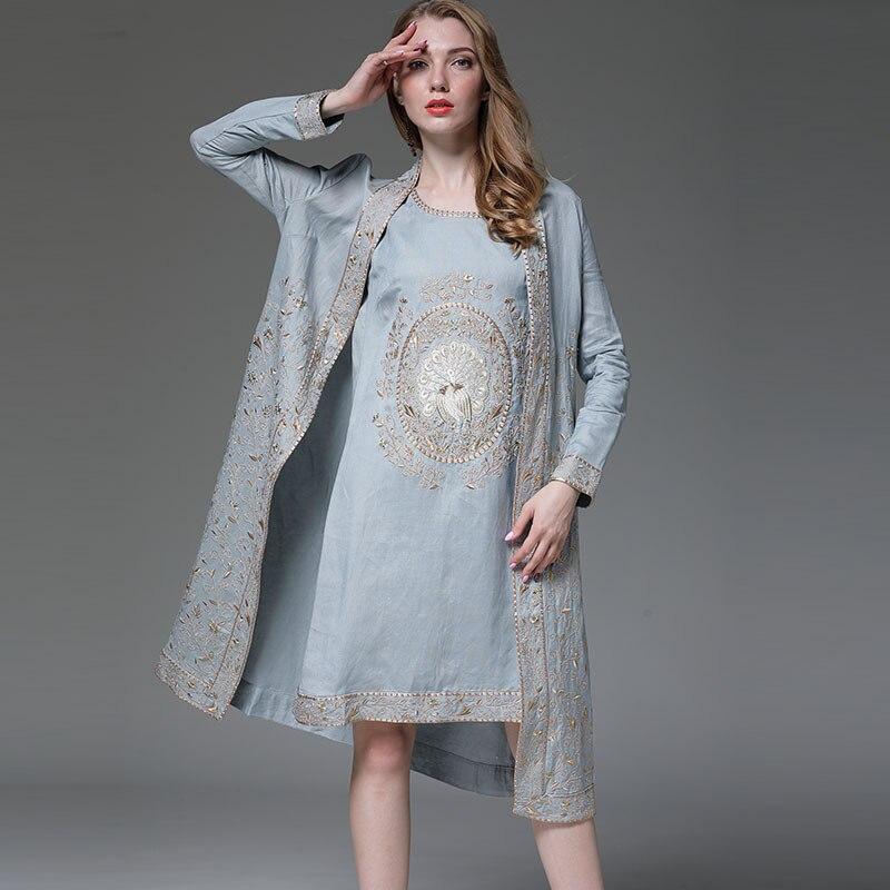 Delle donne insieme del vestito reale del ricamo del vestito dalla maglia + del cotone allentato floreale apri stitch cappotto 2 pezzi elegante vestito della signora femminile m-XXXL