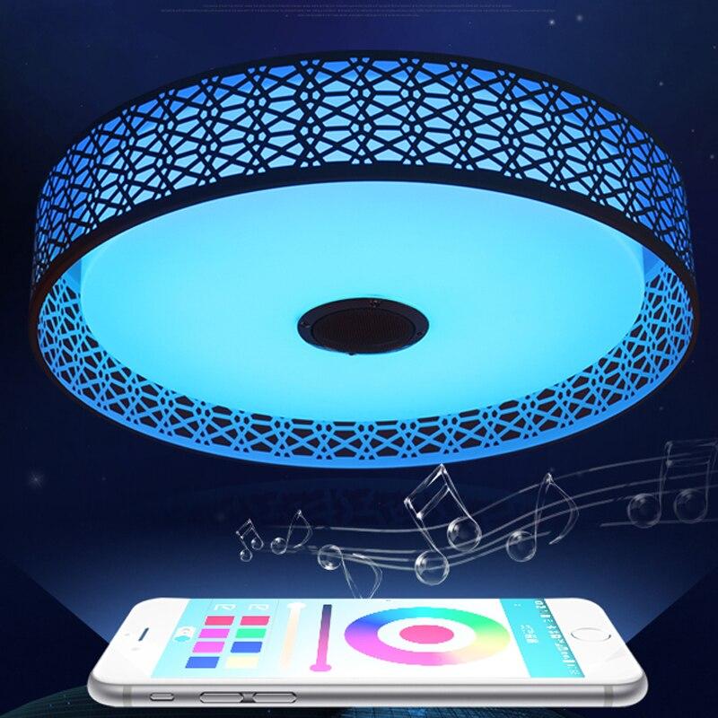Moderne Bluetooth Speaker LED Plafondlamp Afstandsbediening RGB LED Muziek Lamp Dimbare Woonkamer Verlichting lamp Smart APP - 5