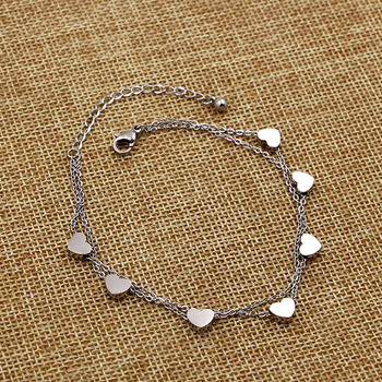 Super Lovely Seven Hearts Rose Gold Double Chain Anklet Titanium Steel Anti Allergic Anklet Jewelry Woman Kid Best Gift 1