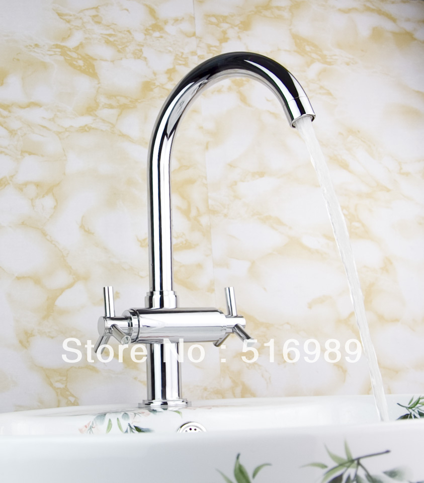 e pak Brand NEW Concept Swivel Kitchen Faucet Polished Chrome Mixer Double Handles Tap tree323