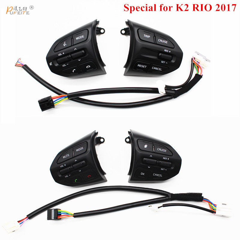 Kostenloser versand Lenkrad Taste Für KIA K2 RIO 2017 2018 RIO X LINIE Tasten Bluetooth Telefon Tempomat Volumen schalter