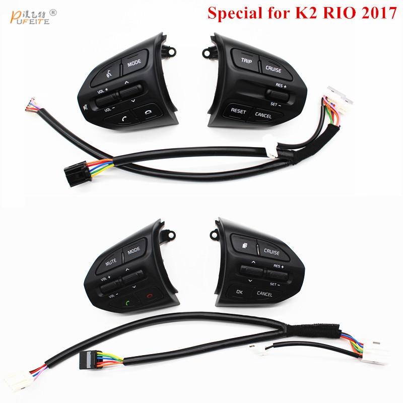 PUFEITE Lenkrad Taste Für KIA K2 RIO 2017 2018 RIO X LINIE Tasten Bluetooth Telefon Tempomat Volumen Schalter
