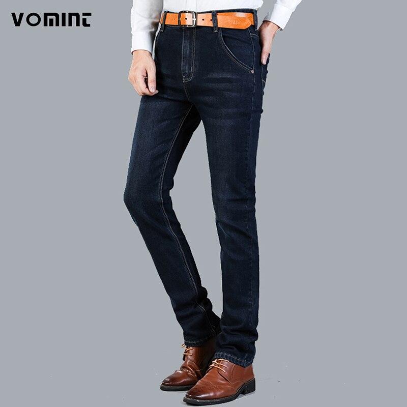 Vomint New Arrival Men's   Jeans   Denim Classic Bussini   Jeans   Slim Regular Black blue color Casual Mens Pants Plus size:28-42