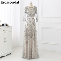 Elegant Evening Dress Long 2019 Long Sleeve Robe Soiree Long Formal Dresses Evening Gown Red/Navy/Grey Luxury Beaded