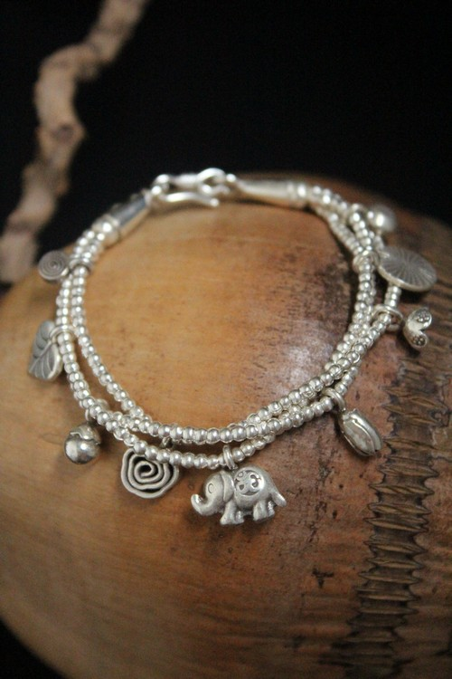 S925 pure silver bracelet female Thai silver elephant elephant bracelet with multi-layer characteristicsS925 pure silver bracelet female Thai silver elephant elephant bracelet with multi-layer characteristics