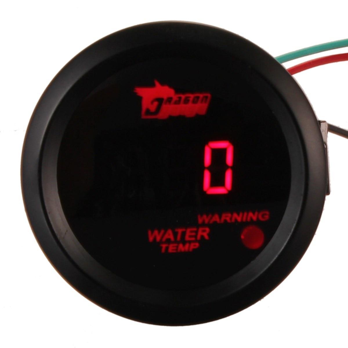 자동차 자동 모터 2 인치 52 미리메터 레드 디지털 물 온도 게이지 온도 섭씨 게이지 블랙