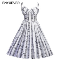 Enyuever Music Note Print Casual Dress Women Jurk Pin Up Swing Spaghetti Strap Rockabilly Robe Retro Vintage Party Dress Vestido