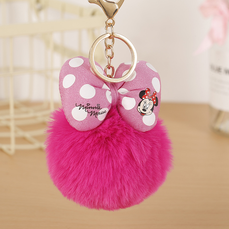 Mickey Bowknot With Rabbit Fur Ball Keychain Cute Fashion Kids Plush Dolls Pom Pom Soft Fluffy Charm Baby For Girls Women Gift