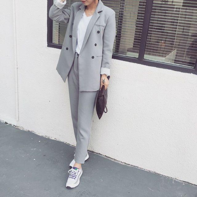 Oficial da Coreia do sul de Lã Terno Feminino Encantador Polka Dot calças de Estilo Ocidental terno