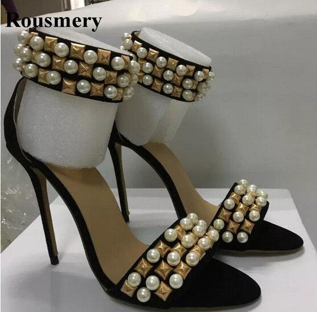 Real Pictures Women Fashion Open Toe Spike High Heel Sandals Pearl Design  Ankle Wrap Gladiator Sandals Rivet Dress Shoes