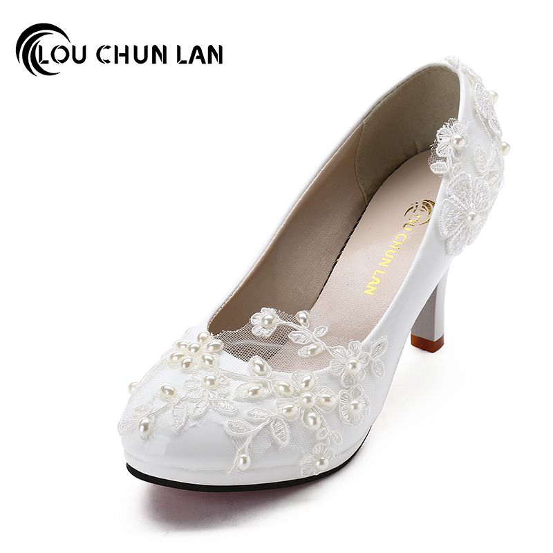 New arrival White Wedding Shoes Pearl Lace Bridal/Bridesmaid Shoes  High Heels Shoes dance Shoes Women Pumps Free Shipping Party