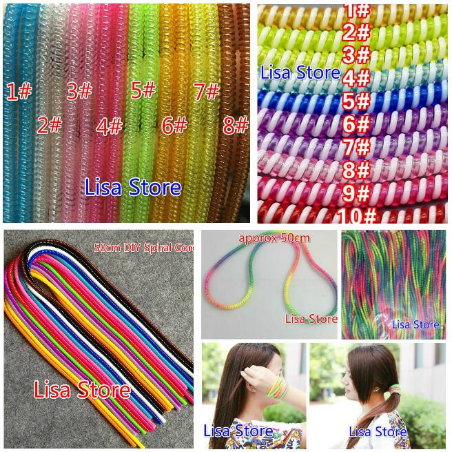 Rainbow Double Triple Spring Protective Sleeve Mobile Tablet Spiral Cord Protector for Cell Phone iPhone Charger Earphone Cord