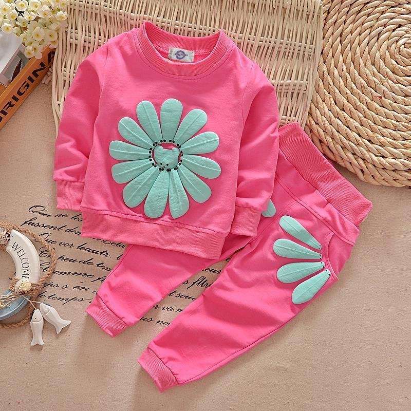 New Kids Infant Baby Girls Clothes Sets Sun Flower Cute T-shirt Jumper Tops + Pants Outfit Clothing Spring Fall 1 2 3 4 Years 2pcs children outfit clothes kids baby girl off shoulder cotton ruffled sleeve tops striped t shirt blue denim jeans sunsuit set