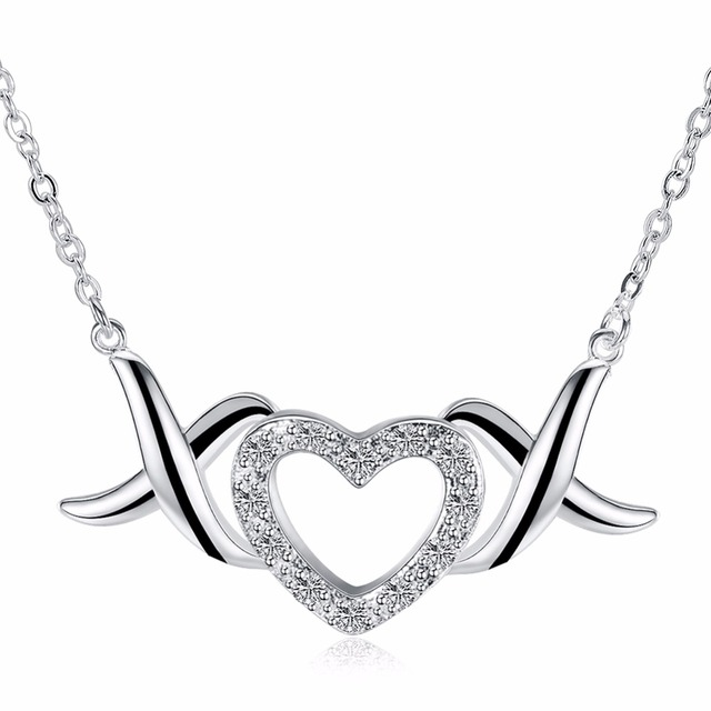 Angel Wings Sweet Heart Pendant Lady Sterling Silver Necklace Give Girlfriends Birthday Gift 925 Accessories
