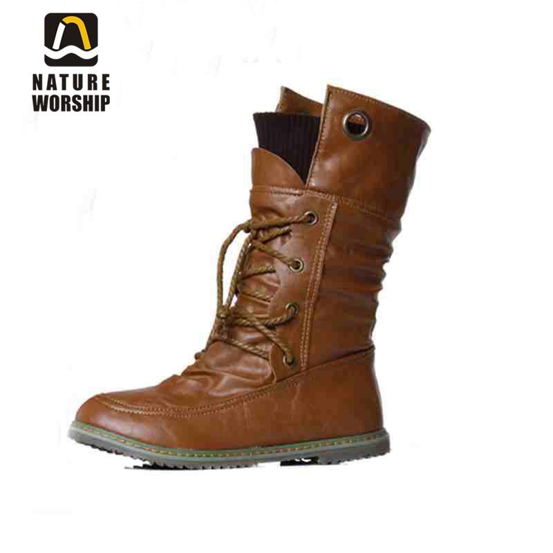 Модні жіночі туфлі зимові чоботи м'які шкіряні чоботи мартини ботильони тверді Мотоцикл чоботи плоскі туфлі розмір 34-43 для жінок