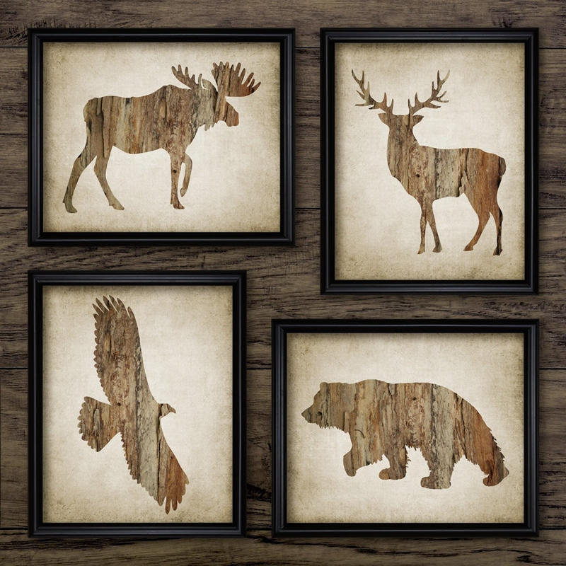 North American Animal Wall Art Posters And Prints Moose,Bald Eagle,Buck Deer,Grizzly Bear Art Painting Rustic Cabin Home Decor