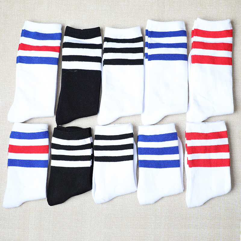 Stripes Socks Cotton Hip Hop Harajuku Off White Black Happy Art Funny Socks Women Men Fashions Ankle Crew Kanye West