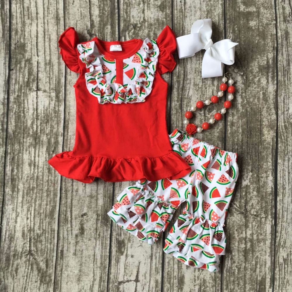 new arrival cotton Summer baby child girls outfits shorts white red watermelon print boutique clothes kids matching accessories 2016 summer baby child girls outfits ruffles shorts white striped watermelon boutique ruffles clothes kids matching headband set