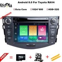 4 + 32G ips Android 8,0 dvd плеер для Toyota RAV4 Rav 4 2007 2008 2009 2010 2011 2 din 1024*600 gps навигации Wi Fi Восьмиядерный