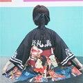 Blusas 2016 de la moda de harajuku de La Vendimia kawaii japonés novedad floja delgada de manga larga de gasa dom ropa kimono blusa delgada