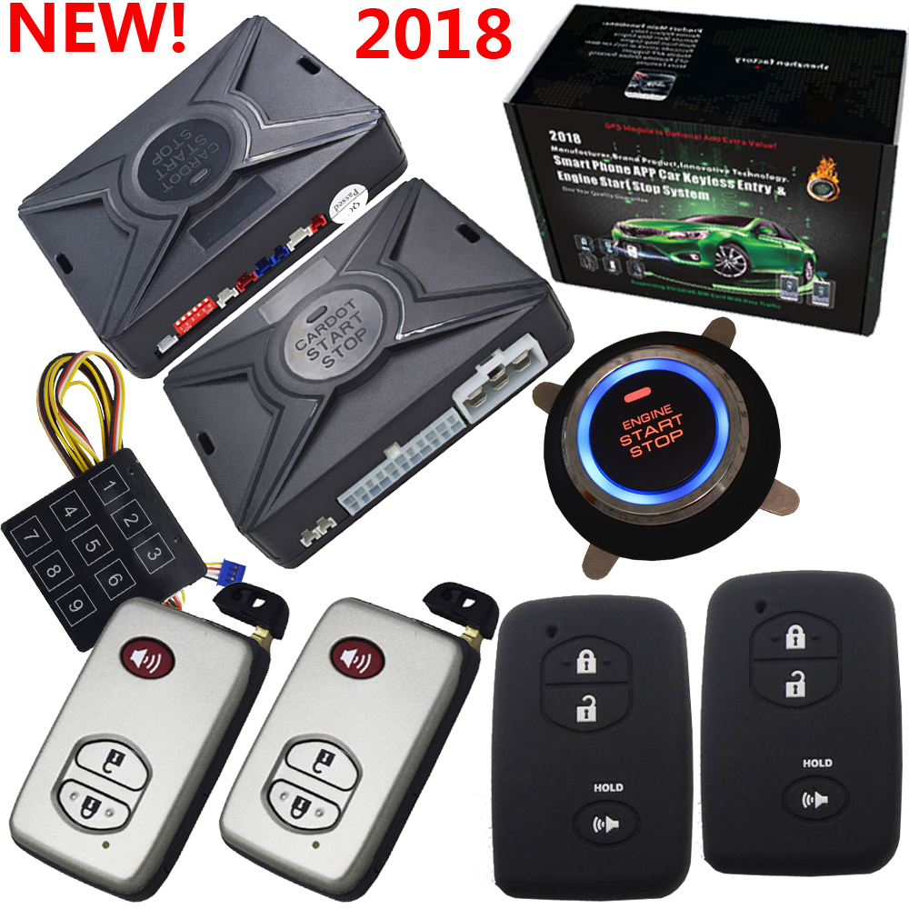 smart anti-hijacking function rfid car alarm system with ignition start stop button auto window rolling up output after lock easyguard pke car alarm system remote engine start stop shock sensor push button start stop window rise up automatically