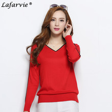 Lafarvie Hot Spring&Autumn Fashion Casual Cashmere Blended Full Sleeve V-neck Sweater Women Pullover Pull Femme Jumper Sweter