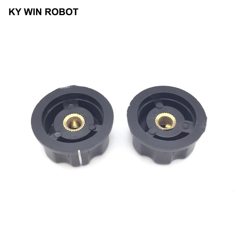 2pcs lot MF A04 A04 Potentiometer Knob Cap Inner 6mm 33x16mm Rotary Switch Bakelite Knob copper core inner for WHT118 WX050 in Potentiometers from Electronic Components Supplies